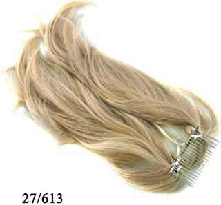 iLUU Clip in Hair Extensions Synthetic Ponytail 27/613 Strawberry Blonde Highlighted with Bleach Blonde Fashion Color Straight Hair Bun Hairpieces for Party Daily Use DIY