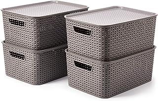 EZOWare Panier de Rangement en Plastique PP Tissé avec Couvercle, Boîte de Rangement, Bac de Rangement pour Cuisine, Salle...
