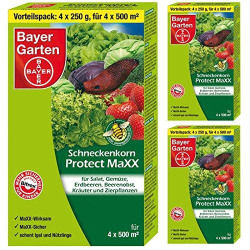 SBM 3 x (4x250g) Bayer Schneckenkorn Protect MaXX + Gardopia Zeckenzange mit Lupe