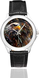 InterestPrint Cool Fox Bald Eagle Waterproof Women's Stainless Steel Classic Leather Strap Watches, Black