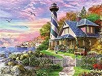 風景海辺の灯台大人と子供5Dダイヤモンド絵画キットDIY装飾フルドリルダイヤモンド刺繡番号付き家の壁の装飾キット(正方形40x60cm)