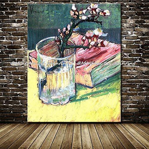 SHYHSCLBD olieverfschilderijen op canvas met de hand geschilderd, abstracte botanische bloem, pruim bloesem in vaas boek moderne kunst decoschilderen voor thuis woonkamer slaapkamer restaurant kantoor 140 x 210 cm