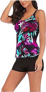 Women Floral Printed Tankini Swimsuit, Ladies Plus Size High Waist Ruffle Swimwear with Swim Shorts