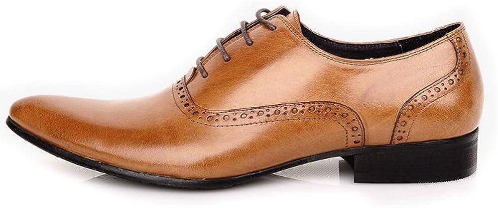 Fulinken Men's Leather Classic Oxford Shoes Formal Dress Shoes