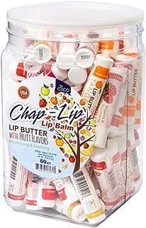 CHAP-LIP Lip Balm 60 Ct. with Fruit Flavors, Cocoa Butter, Coconut Oil   Moisturizing Vitamin E & Total Hydration Treatmen...