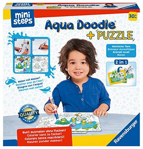 Ravensburger ministeps 4184 Aqua Doodle Puzzle: Heimische Tiere - Erstes Malen und Puzzlen für Kinder ab 2,5 Jahren, fleckenfreier Malspaß mit Wasser