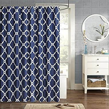 Merritt Design Pattern Modern Fabric Shower Curtain, Simple Geometric Casual Shower Curtains for Bathroom, 72 X 72, Navy