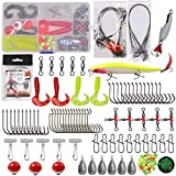 131pcs Saltwater Fishing Tackle Surf Fishing Kit - Fishing Rigs Fishing Lure Fishing Hooks Fishing Swivel Hard Minnow Bucktail Jig Spoon Wire Leader Rig Fishing Sinker Various Fishing Accessories