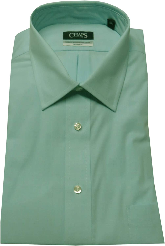 Chaps Men's Regular Fit Ultimate Non Iron Shirt, Size 17 1/2-34/35, Aqua