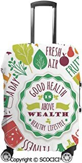Good Health is Above Wealth Wellness Motivation Water Fruits Fitness Walk Cereals Suitcase Cover Protective Luggage Cover Customized Fits 19-32 Inch