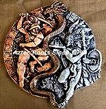 14' Aztec Calendar Warrior Plaque Maya Mayan Peru Inca Sculpture Statue Aztlan Pottery Art Hand-Painted From Mexico 079