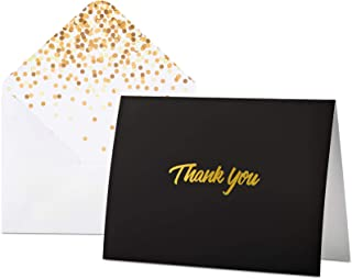 100 Thank You Cards with Envelopes | Thank You Notes, Black & Gold Foil | Blank Cards with Envelopes | For Business, Weddi...