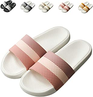 Finleoo Lightweight Women/Men's Slip On Slippers Non-Slip Shower Sandals House Pool Shoes Bathroom Slide Water Shoes Pink ...
