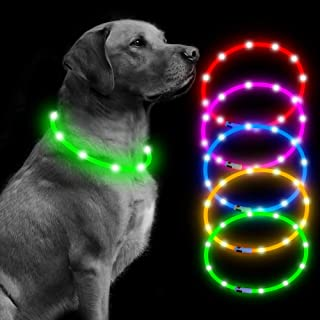 "BSEEN Led Dog Collar USB Rechargeable Glowing Pet Safety Collars Water Resistant Light up Cut to resize to fit 11""-27"" for Small, Medium, Large Dogs"