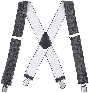 Ajustable Resistente Ojal Tirantes Gris El/ástico Wide 1 Trimming Shop 25mm Hombre Tirantes con Puntos Blancos