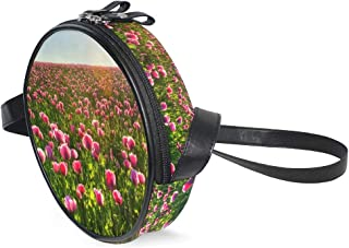 Descargar Poppies Pink Field Horizon Sky Sunset - Bolso bandolera de piel sintética multifuncional, para ir de compras, viajes