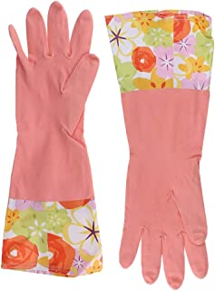 IPOTCH 1 Pair Ladies Waterproof Household Rubber Latex Floral Pattern Long Sleeve Gloves Washing Up Cleaning