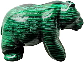 Gemgogo Synthetic Malachite Bear Figurines, Natural 2 Inches Hand Carved Crystals and Healing Stone Statue Home Decoration Crafts