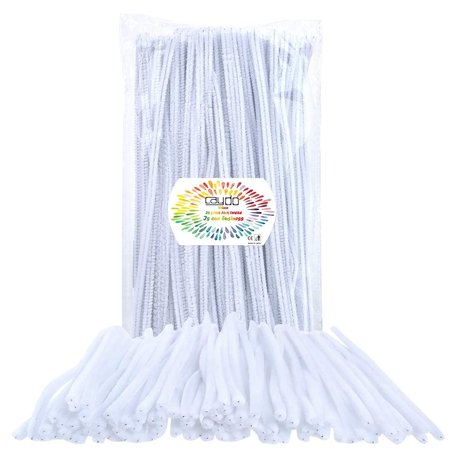 Caydo 150 Pieces Chenille White Pipe Cleaners for DIY, Art Creative Crafts Decorations (6 mm x 12 inch)