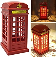 JYKOO Bedside Lamp Retro London Phone Booth LED Touch Night Light USB Charging Bedroom Bedside Table Lamp for Home Decoration