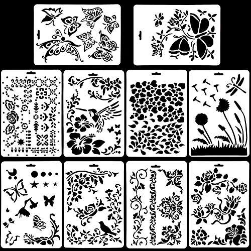 10 Stück Schablonen Set Kunststoff Zeichnung Malerei Vorlage, Tiere Malschablonen Wiederverwendbare Zeichenschablonen Journal Schablone Aubehör für Kinder Scrapbooking Tagebuch (Blume Schablonen)