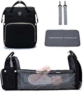 3 in1 Multifunctional Mummy Bag, Foldable Nappy Backpacks Baby Bed with Hook & Changing Pad, Portable Travel Bassinet Bag ...
