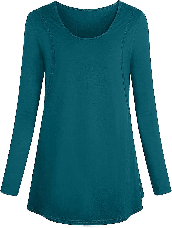 Women's Breastfeeding Casual Loose Top Shirt Nursing Top Maternity Nursing Long Sleeve Shirts Clothes