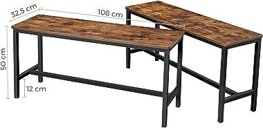 VASAGLE Bancs de Salle à Manger, Lot de 2, Siège pour Cuisine, Style Industriel, 108 x 32,5 x 50 cm, Cadre Métallique Durable