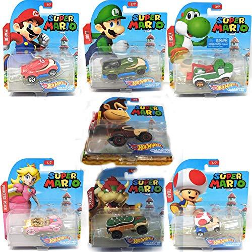 Hot Wheels 2017 Super Mario Character Cars Set of 7