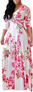 Olens Women 3/4 Long Sleeve Wrap V Neck Floral Printed Long Maxi Dress Plus Size
