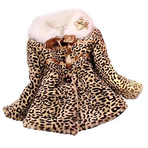 TONSEE Baby Mädchen Prinzessin Faux Pelz Leopard Kleidung Kind warme Jacke Snowsuit Winterbekleidung (1-2 Y)