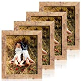 iRahmen 4 Pack 8x10 Rustic Picture Frame Set with High Definition Glass Photo Frame for Desktop Display and Wall Mounting (IR-US002-BR-P8X10)
