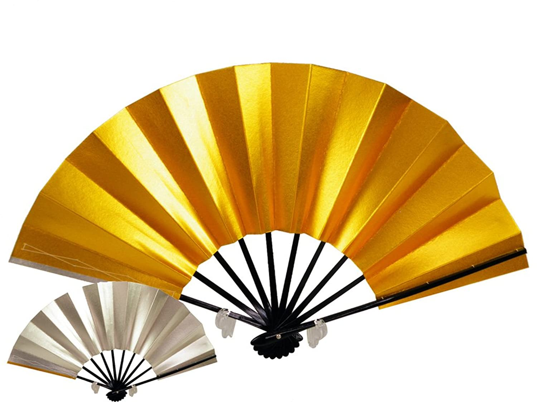 【さらさ】 舞扇子 舞扇 踊り用扇子 黒塗り 金と銀のリバーシブル kg-66