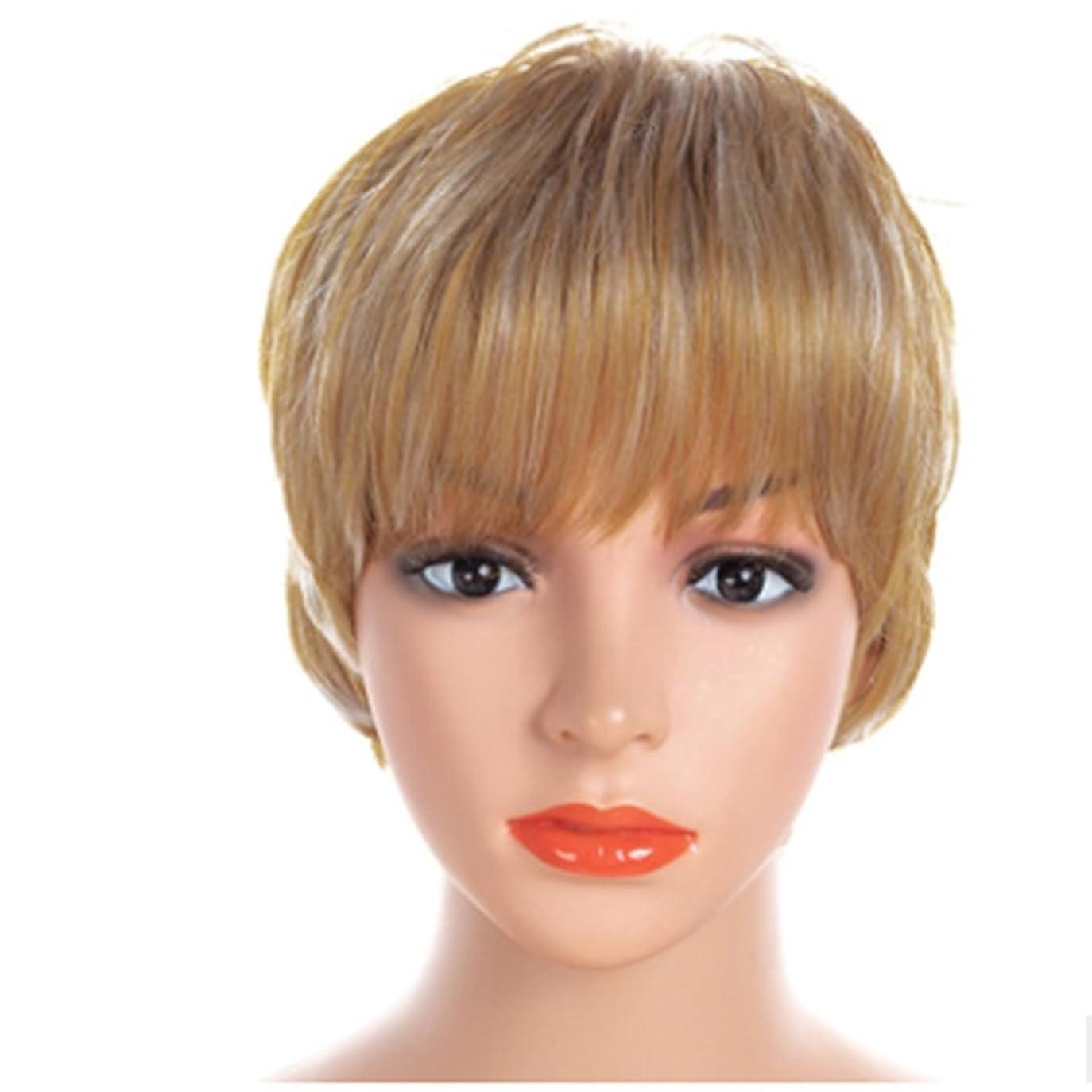 三角拷問苦いKoloeplf 女性のための30cmストレートショートウィッグ傾斜またはフラット合成デイリーウィッグリアルヘア - ゴールドストレートウィッグ (Color : 金色)