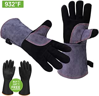 GEEKHOM Oven Gloves 16 inch Long 932°F Heat Resistant Leather BBQ Mitts for Barbecue Grills Smokers Cooking Grilling Welding Instant Pot Dutch Pizza Oven Turkey Air Fryer Wood Stove Fireplace