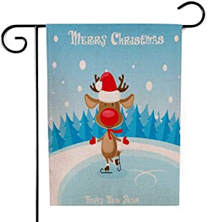 Shorping Decorative Outdoor Garden Flag, 12.5X18Inch Banner Funny Deer in Santa Hat Skates The Ice Rink Blue Gradient for Holiday and Seasonal Double-Sided Printing Yards Flags