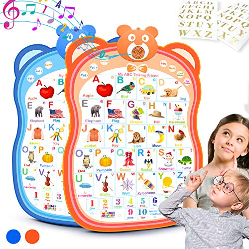 My ABC Talking Friend Interactive Alphabet Toy Talking Poster Wall Chart, Educational Toy for Learning Toddlers, Age 2 Year Old, 3 Year Old, Kindergarten, Preschool Boys and Girls