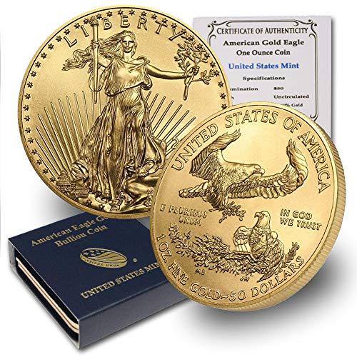 1986 – Present (Random Year) 1oz American Gold Eagle $50 Brilliant Uncirculated w/US Mint Box & Our COA