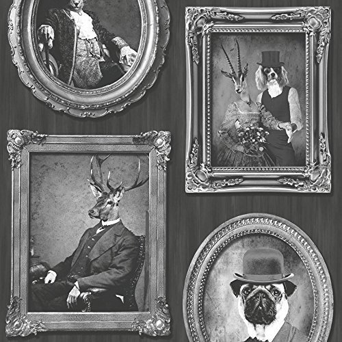Muriva Dogs Frames Photo/'s Picture Black White Vintage Feature Wallpaper