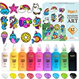 TOYLI Window Glitter Paint Art Kit Makes 26 Projects, Create Own 12 DIY Acrylic Suncatchers Custom Designs, Plus 14 Peel and Stick Stickers Craft on Acetate Sheet for Promoting Skills Toddlers Kids