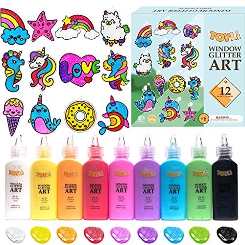 TOYLI Window Glitter Paint Art Kit, 12 DIY Acrylic Suncatchers, Plus 14 Peel and Stick Craft for Kids, Makes 26 Projects