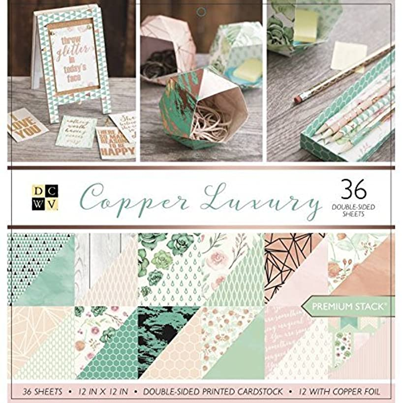 DCWV Card Stock 12X12 Stack Copper Luxury, 36 Sheets