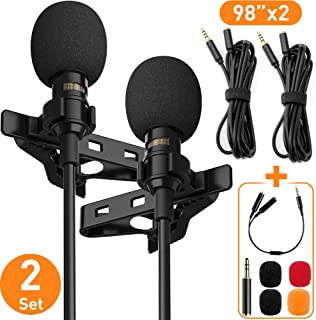 Professional Lavalier Lapel Microphone Complete Set - Omnidirectional Condenser Grade Audio Video Recording Mic for Android/iPhone/PC/Camera for Interview, YouTube, Video Conference, Podcast