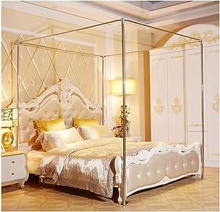 YOGANHJAT Cadre de lit à baldaquin d'acier Inoxydable, Support moustiquaire Quatre Lits d'angle, Connecteurs T en métal Ac...