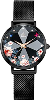 Creative Ultra Thin Minimalist Starry Sky Flower Dial Women Watch with Stainless Steel Mesh Band Genuine Leather Elegant Women Watches