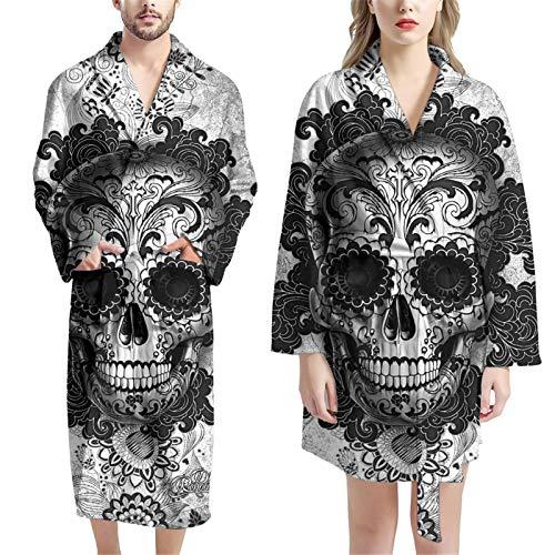 Woisttop Bademantel für Damen und Herren, saugfähig, mit 2 Taschen, Gürtel, 2 Stück, Candy Skull, One size