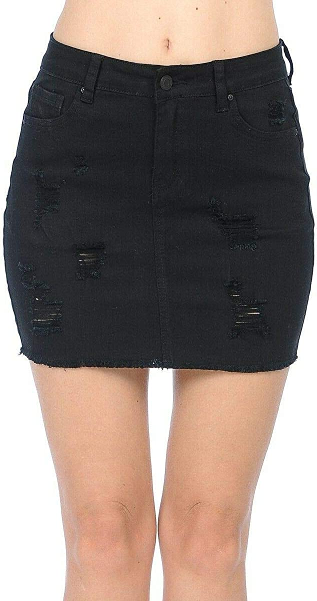 Wax Women's Juniors Casual Distressed A-Line Denim Short Skirt