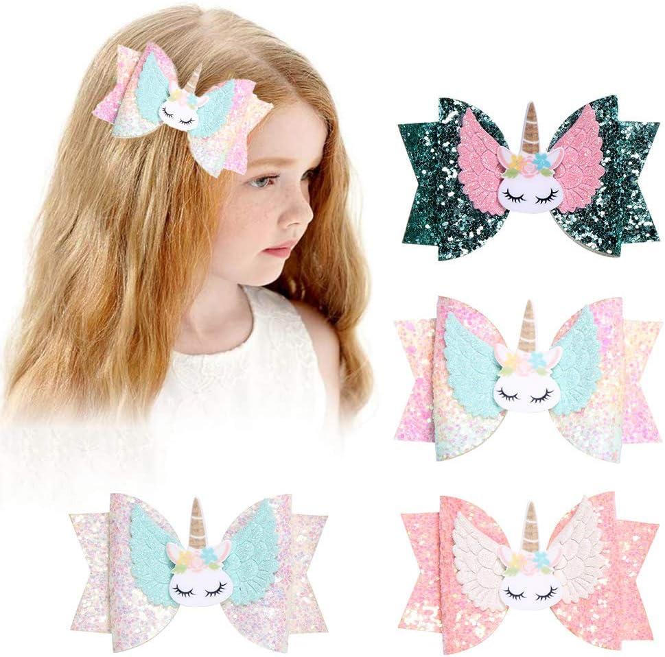 Pinza de pelo de unicornio de 4 piezas, Hair Bows Alligator Clips para Niñas, Sombrero para Bebé, Accesorios para el Cabello Lindos, Regalos para Fiestas para Niñas Pequeños
