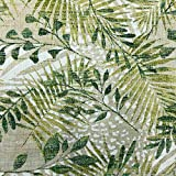 Kt KILOtela Tela de loneta Estampada - Retal de 100 cm Largo x 280 cm Ancho | Botánico, Hojas - Verde ─ 1 Metro