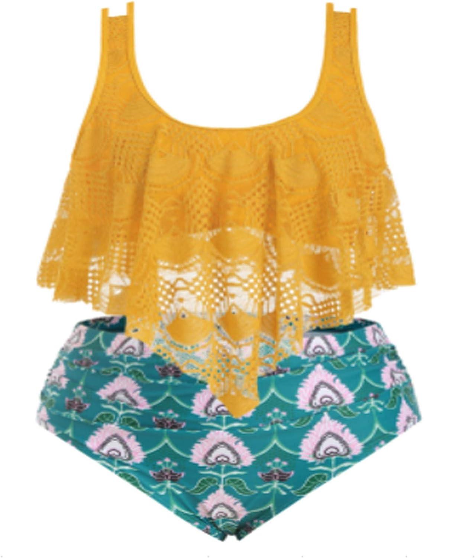 QCool Women's Plus Size Bikini Set Ruffled Tankini Top Ruched High Waisted Bikini Bottom Two Piece Swimsuit